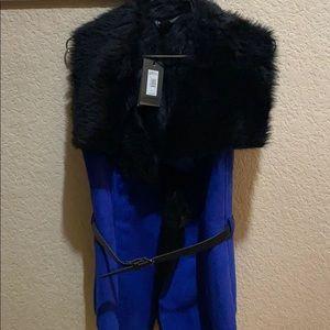 Armani Exchange Women's Suede Faux fur vest
